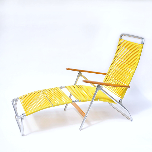 Vintage Folding Chair-Yellow Tube