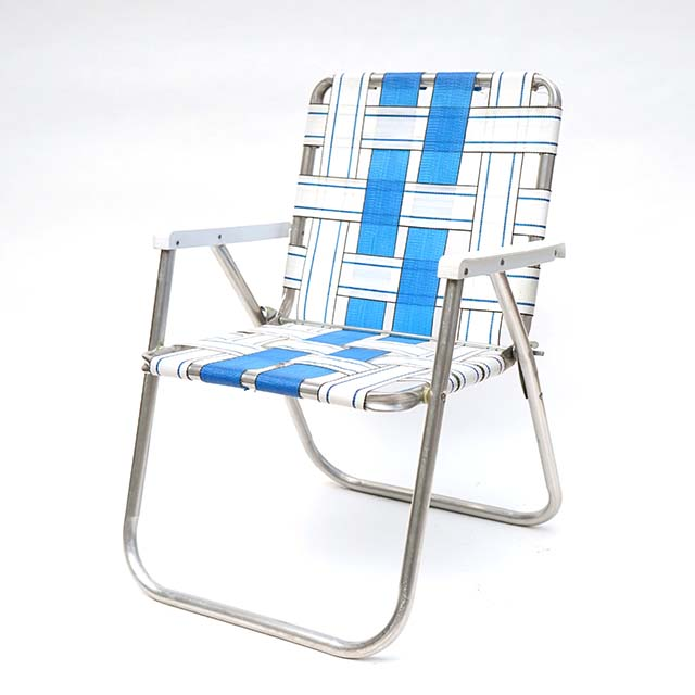 Vintage Folding Chair-White×Blue #2
