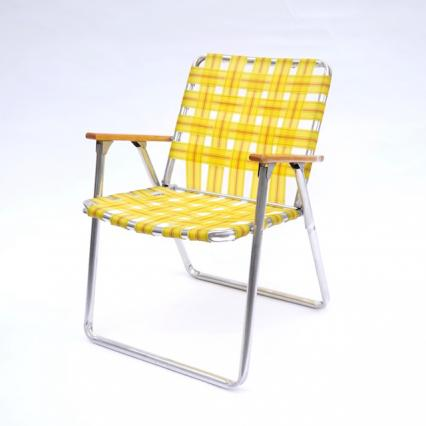 Vintage Folding Chair-Wood Arm Yellow